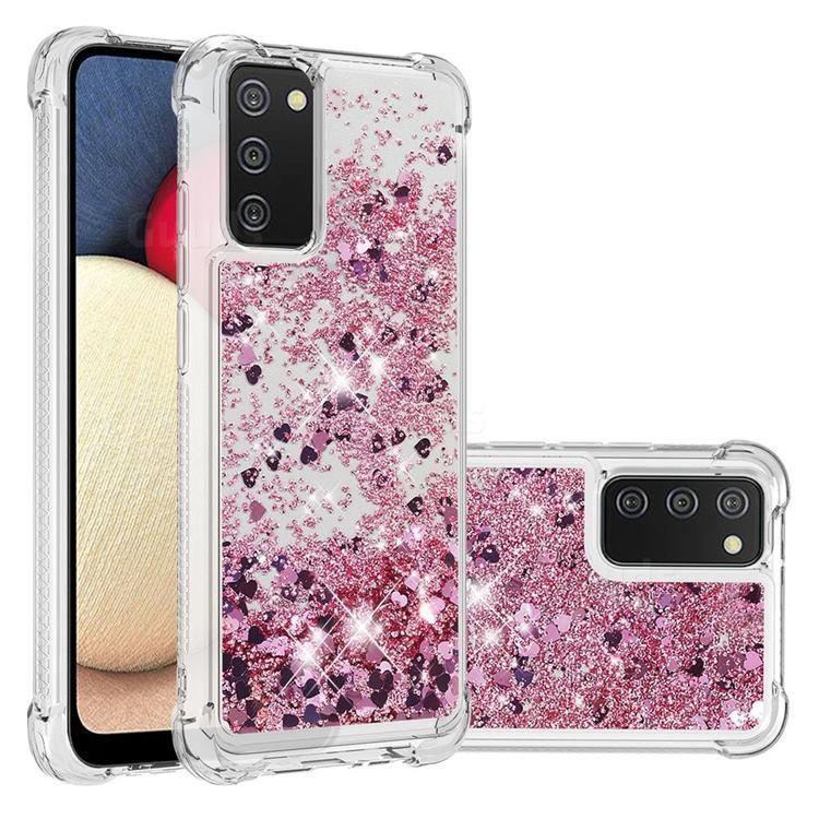 Dynamic Liquid Glitter Sand Quicksand Star TPU Case for Samsung Galaxy A02s - Diamond Rose