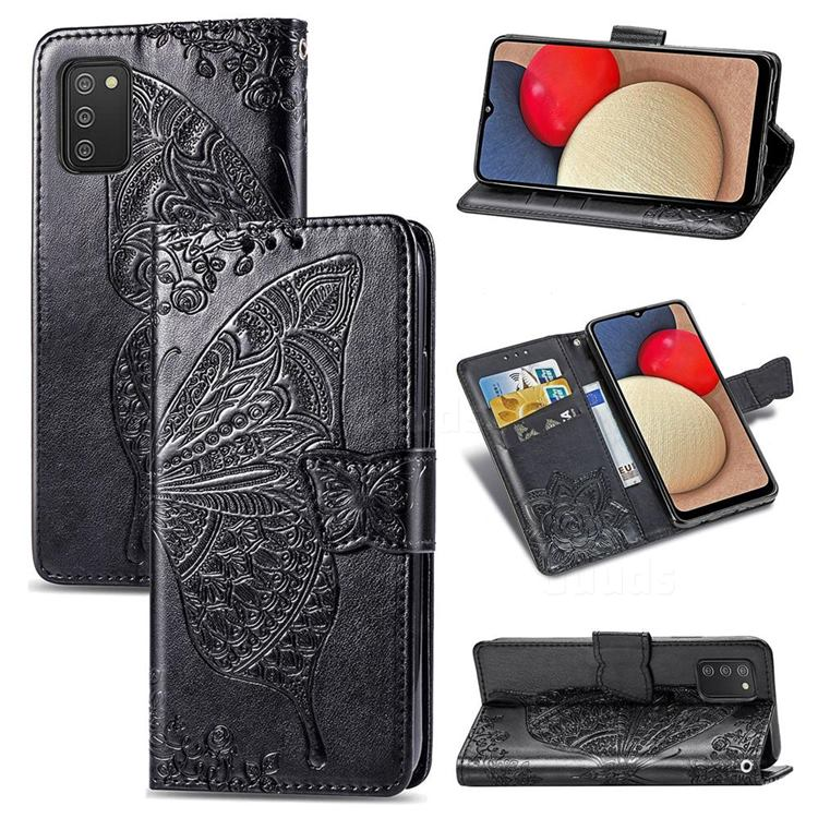 Embossing Mandala Flower Butterfly Leather Wallet Case for Samsung Galaxy A02s - Black
