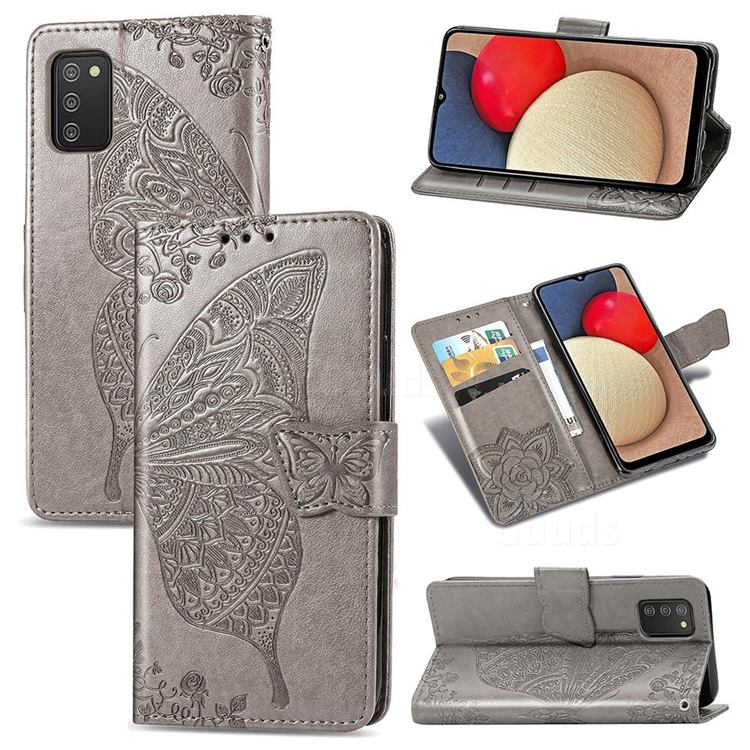 Embossing Mandala Flower Butterfly Leather Wallet Case for Samsung Galaxy A02s - Gray