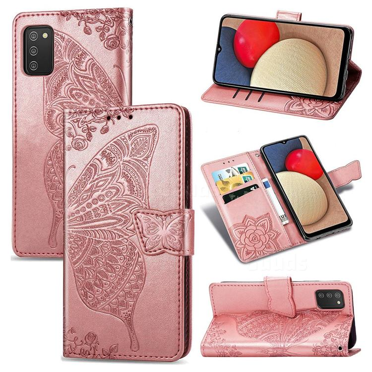 Embossing Mandala Flower Butterfly Leather Wallet Case for Samsung Galaxy A02s - Rose Gold