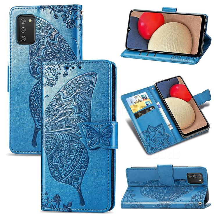 Embossing Mandala Flower Butterfly Leather Wallet Case for Samsung Galaxy A02s - Blue
