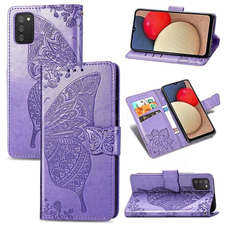 Embossing Mandala Flower Butterfly Leather Wallet Case for Samsung Galaxy A02s - Light Purple