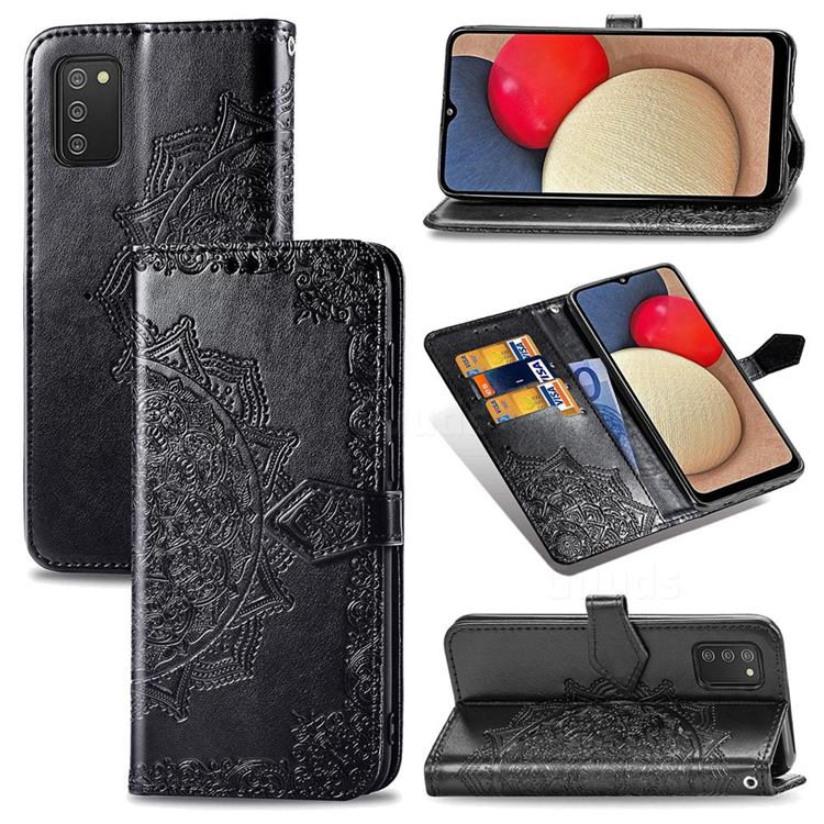 Embossing Imprint Mandala Flower Leather Wallet Case for Samsung Galaxy A02s - Black