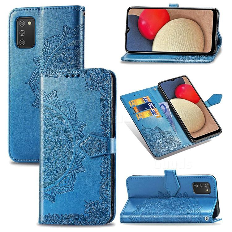 Embossing Imprint Mandala Flower Leather Wallet Case for Samsung Galaxy A02s - Blue
