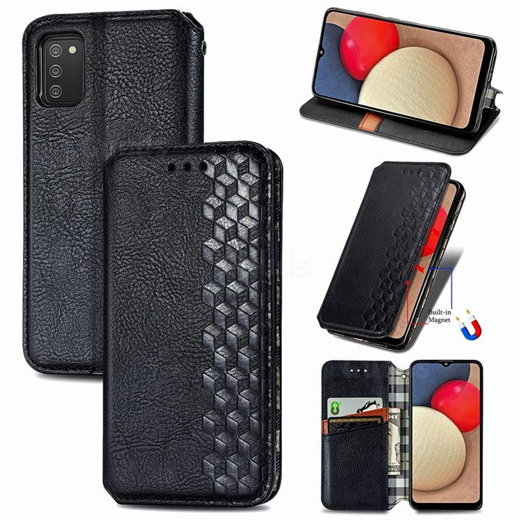 Ultra Slim Fashion Business Card Magnetic Automatic Suction Leather Flip Cover for Samsung Galaxy A02s - Black