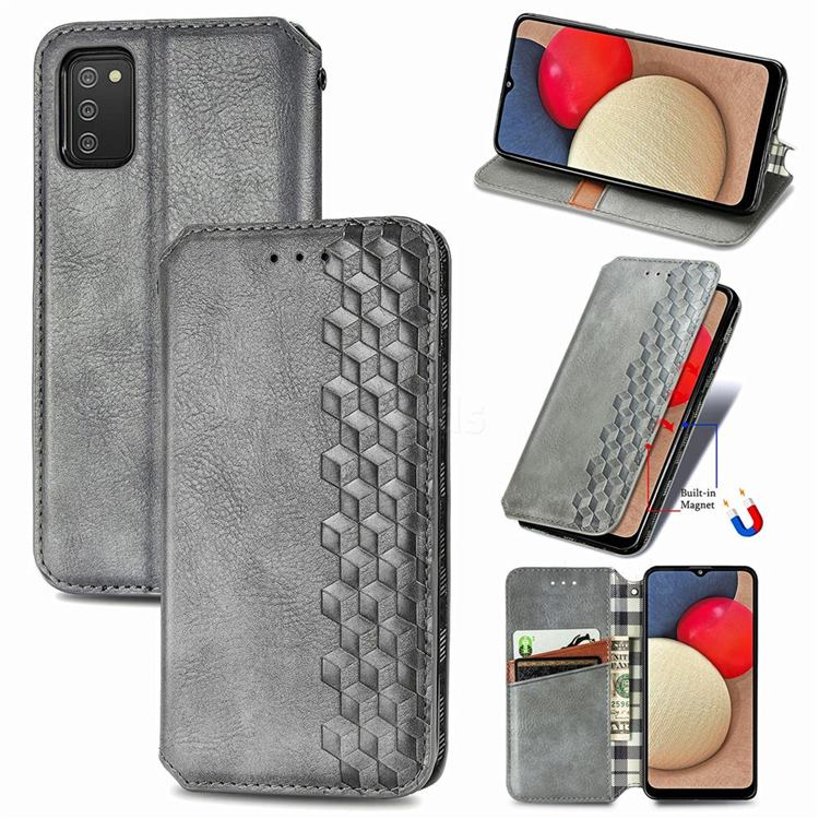 Ultra Slim Fashion Business Card Magnetic Automatic Suction Leather Flip Cover for Samsung Galaxy A02s - Grey