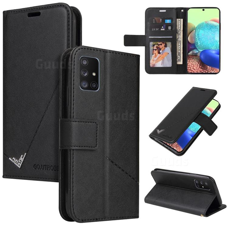GQ.UTROBE Right Angle Silver Pendant Leather Wallet Phone Case for Samsung Galaxy A02s - Black