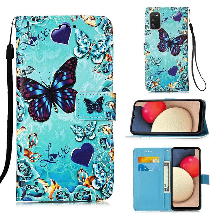 Love Butterfly Matte Leather Wallet Phone Case for Samsung Galaxy A02s