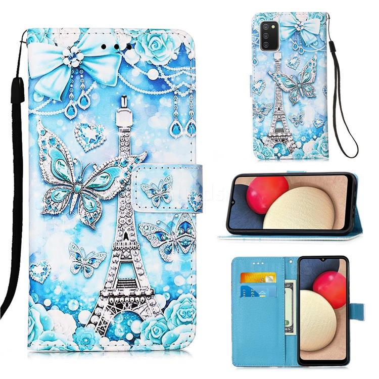 Tower Butterfly Matte Leather Wallet Phone Case for Samsung Galaxy A02s