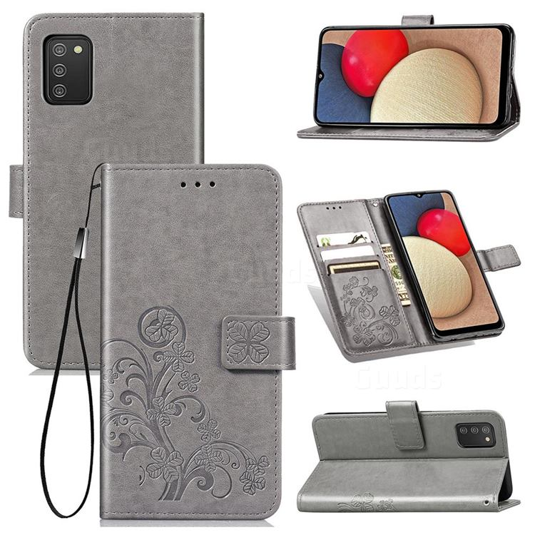 Embossing Imprint Four-Leaf Clover Leather Wallet Case for Samsung Galaxy A02s - Grey