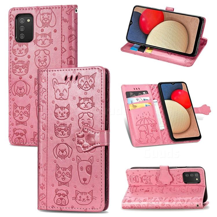 Embossing Dog Paw Kitten and Puppy Leather Wallet Case for Samsung Galaxy A02s - Pink
