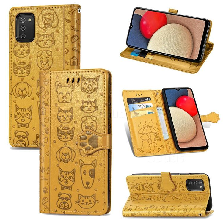 Embossing Dog Paw Kitten and Puppy Leather Wallet Case for Samsung Galaxy A02s - Yellow