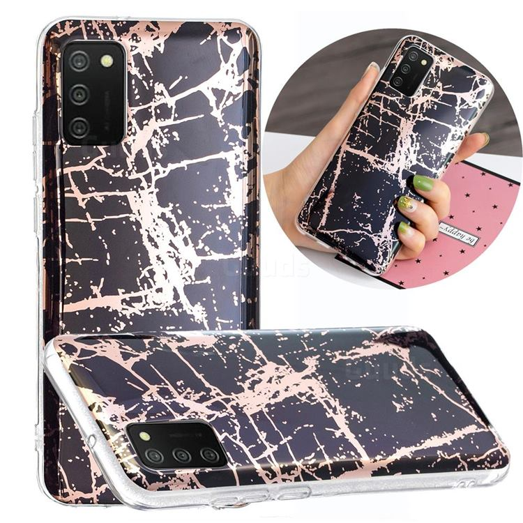 Black Galvanized Rose Gold Marble Phone Back Cover for Samsung Galaxy A02s