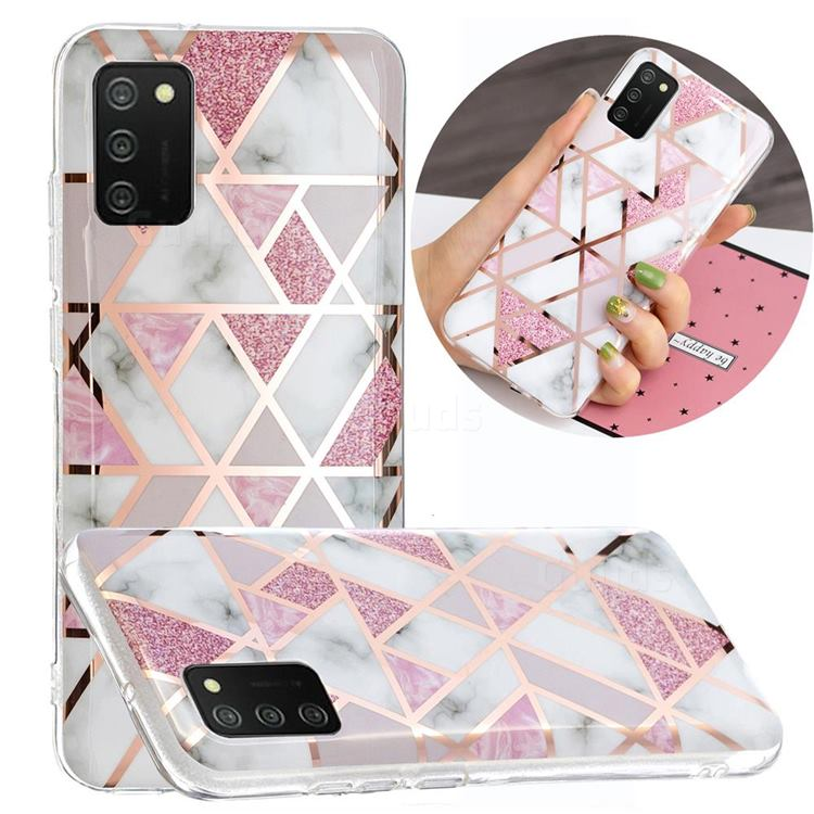 Pink Rhombus Galvanized Rose Gold Marble Phone Back Cover for Samsung Galaxy A02s