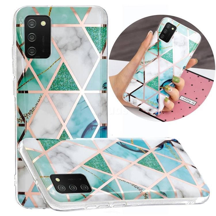 Green White Galvanized Rose Gold Marble Phone Back Cover for Samsung Galaxy A02s
