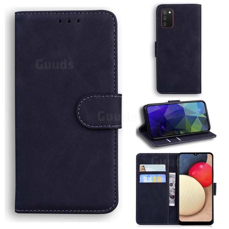 Retro Classic Skin Feel Leather Wallet Phone Case for Samsung Galaxy A02s - Black