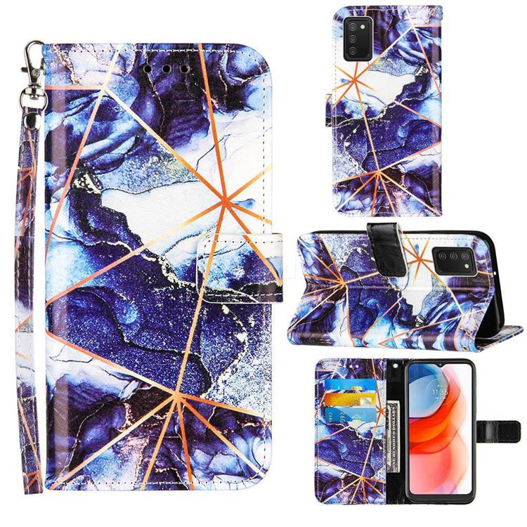 Starry Blue Stitching Color Marble Leather Wallet Case for Samsung Galaxy A02s