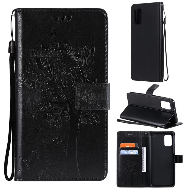 Embossing Butterfly Tree Leather Wallet Case for Samsung Galaxy A02s - Black