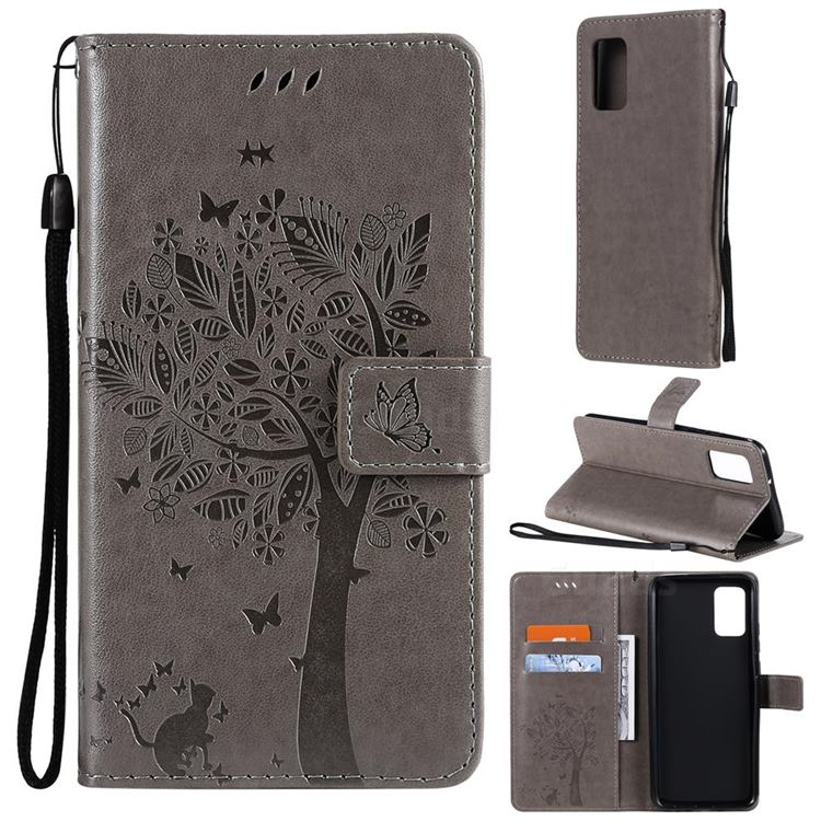 Embossing Butterfly Tree Leather Wallet Case for Samsung Galaxy A02s - Grey
