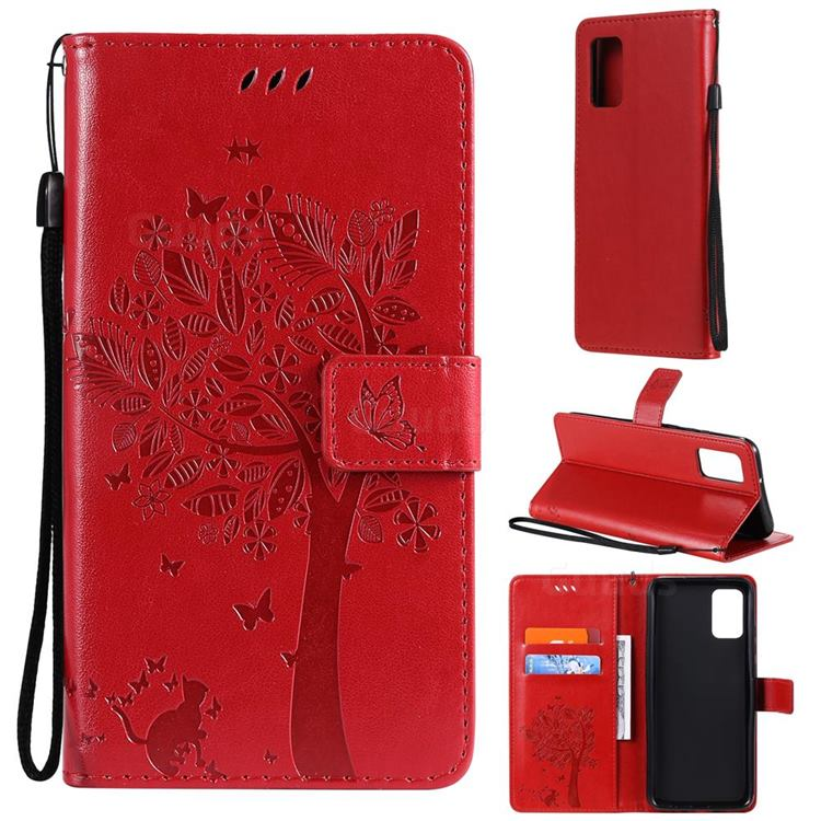 Embossing Butterfly Tree Leather Wallet Case for Samsung Galaxy A02s - Red