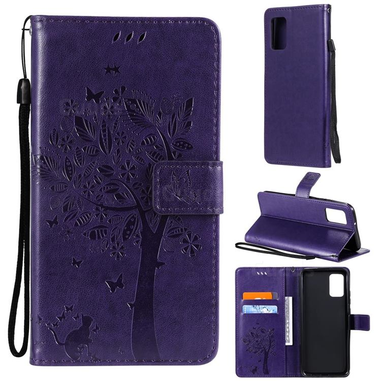 Embossing Butterfly Tree Leather Wallet Case for Samsung Galaxy A02s - Purple