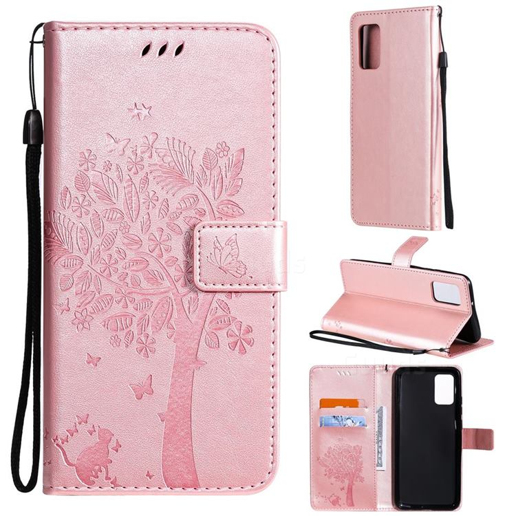 Embossing Butterfly Tree Leather Wallet Case for Samsung Galaxy A02s - Rose Pink