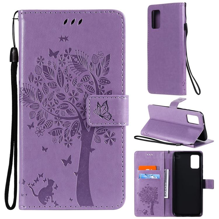 Embossing Butterfly Tree Leather Wallet Case for Samsung Galaxy A02s - Violet