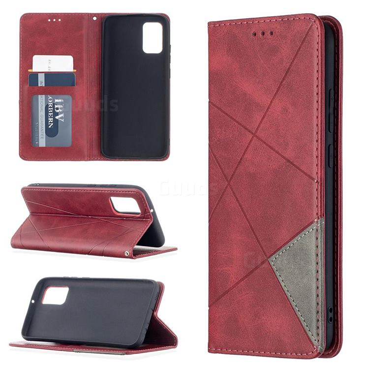 Prismatic Slim Magnetic Sucking Stitching Wallet Flip Cover for Samsung Galaxy A02s - Red