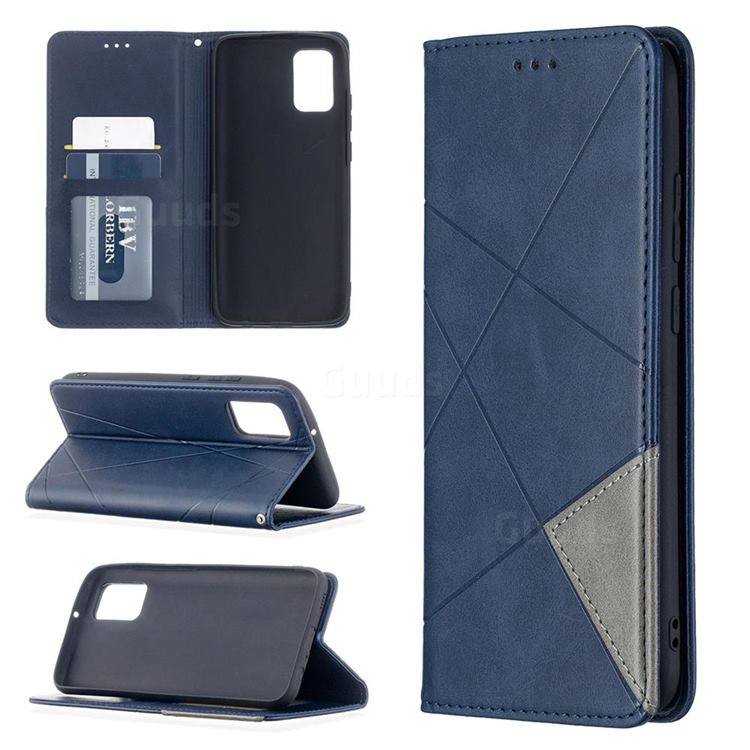 Prismatic Slim Magnetic Sucking Stitching Wallet Flip Cover for Samsung Galaxy A02s - Blue