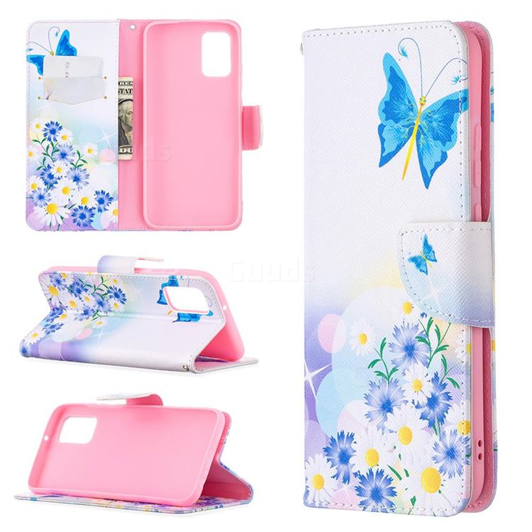 Butterflies Flowers Leather Wallet Case for Samsung Galaxy A02s