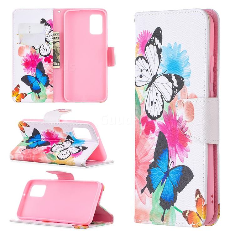 Vivid Flying Butterflies Leather Wallet Case for Samsung Galaxy A02s