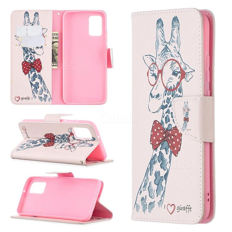 Glasses Giraffe Leather Wallet Case for Samsung Galaxy A02s