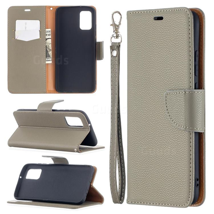Classic Luxury Litchi Leather Phone Wallet Case for Samsung Galaxy A02s - Gray