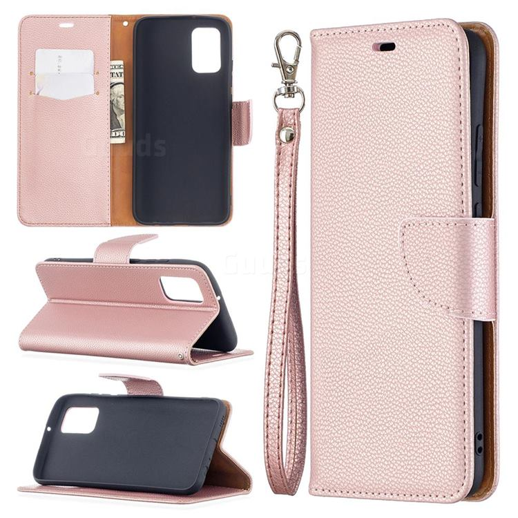 Classic Luxury Litchi Leather Phone Wallet Case for Samsung Galaxy A02s - Golden