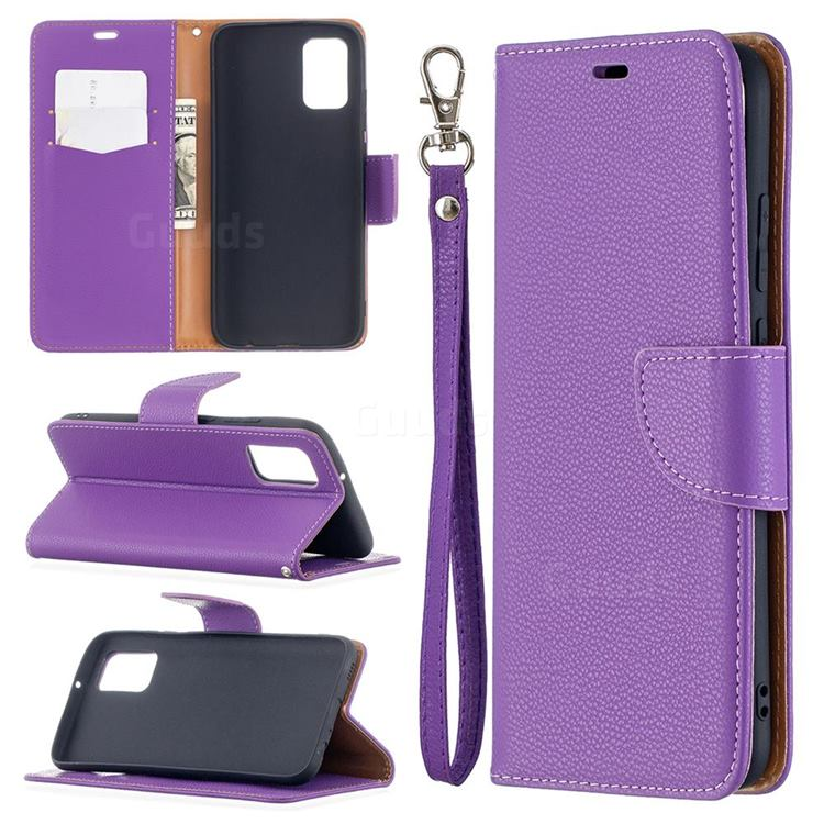 Classic Luxury Litchi Leather Phone Wallet Case for Samsung Galaxy A02s - Purple