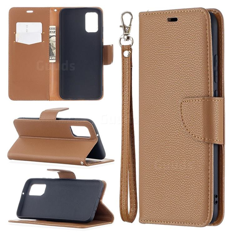 Classic Luxury Litchi Leather Phone Wallet Case for Samsung Galaxy A02s - Brown