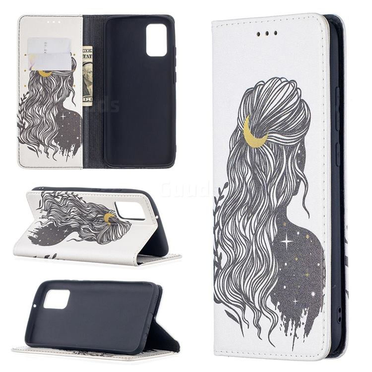 Girl with Long Hair Slim Magnetic Attraction Wallet Flip Cover for Samsung Galaxy A02s