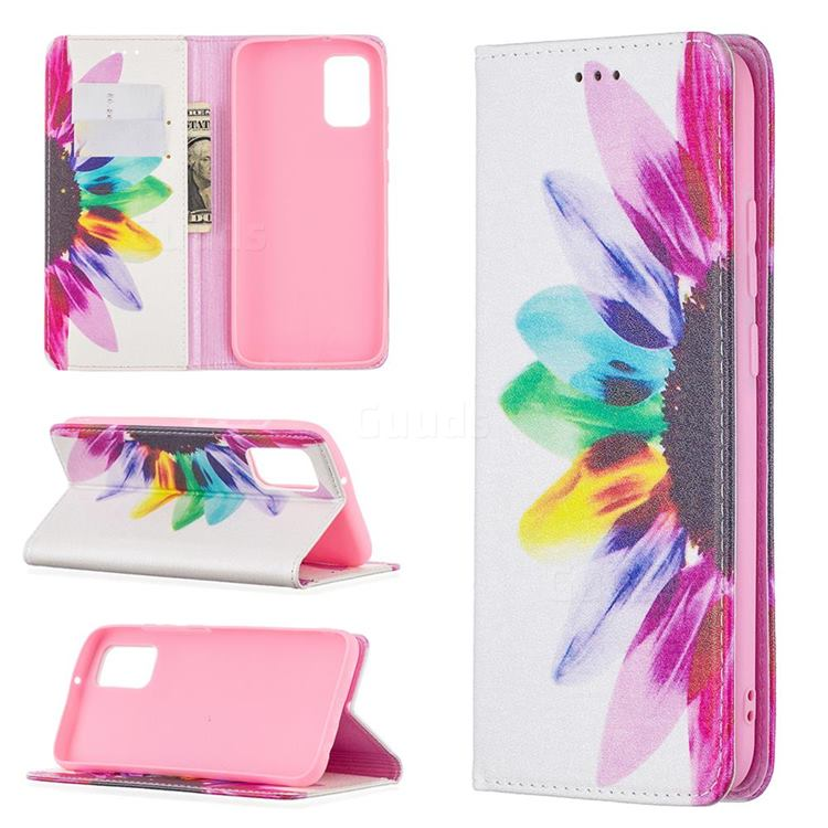 Sun Flower Slim Magnetic Attraction Wallet Flip Cover for Samsung Galaxy A02s