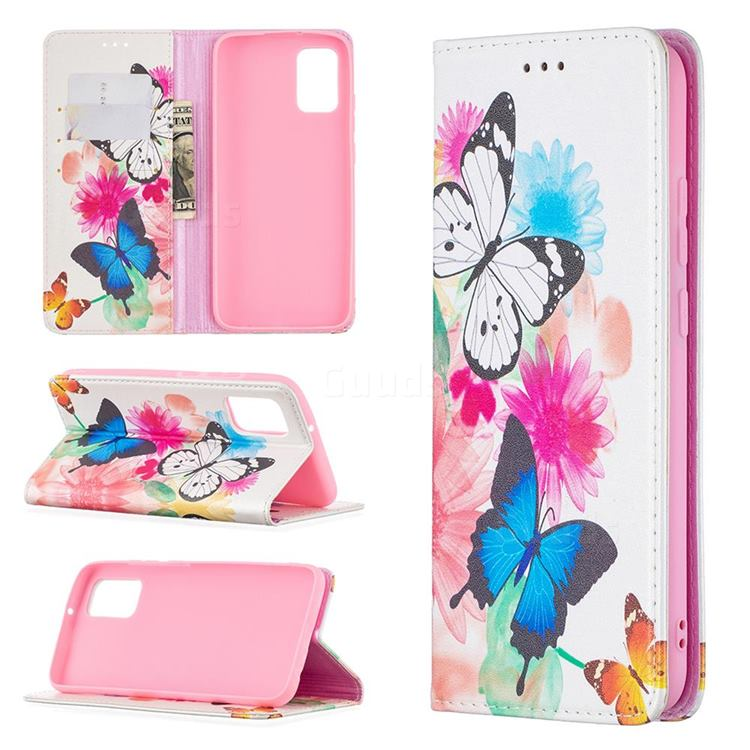 Flying Butterflies Slim Magnetic Attraction Wallet Flip Cover for Samsung Galaxy A02s