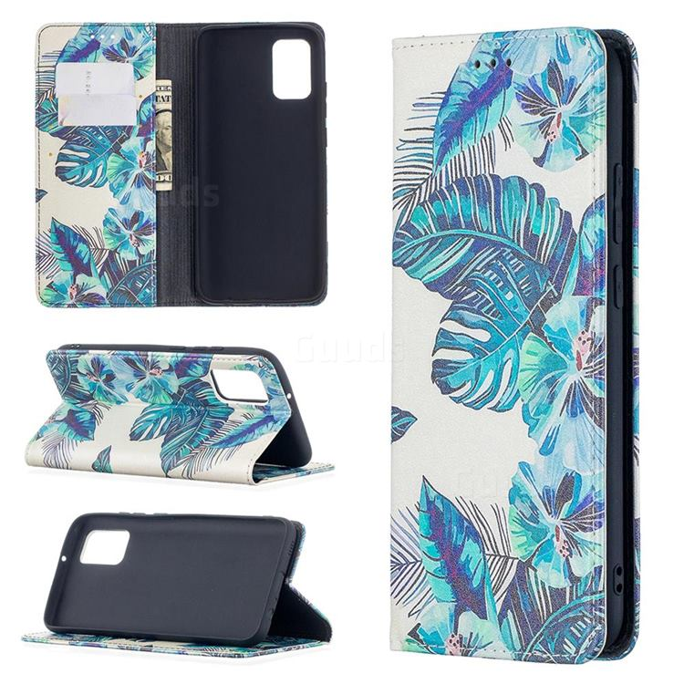 Blue Leaf Slim Magnetic Attraction Wallet Flip Cover for Samsung Galaxy A02s