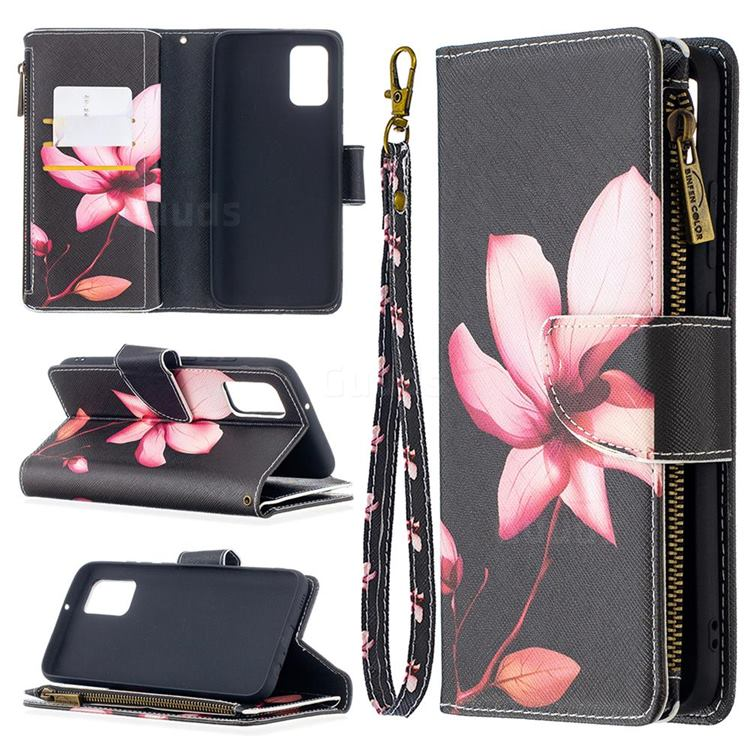 Lotus Flower Binfen Color BF03 Retro Zipper Leather Wallet Phone Case for Samsung Galaxy A02s