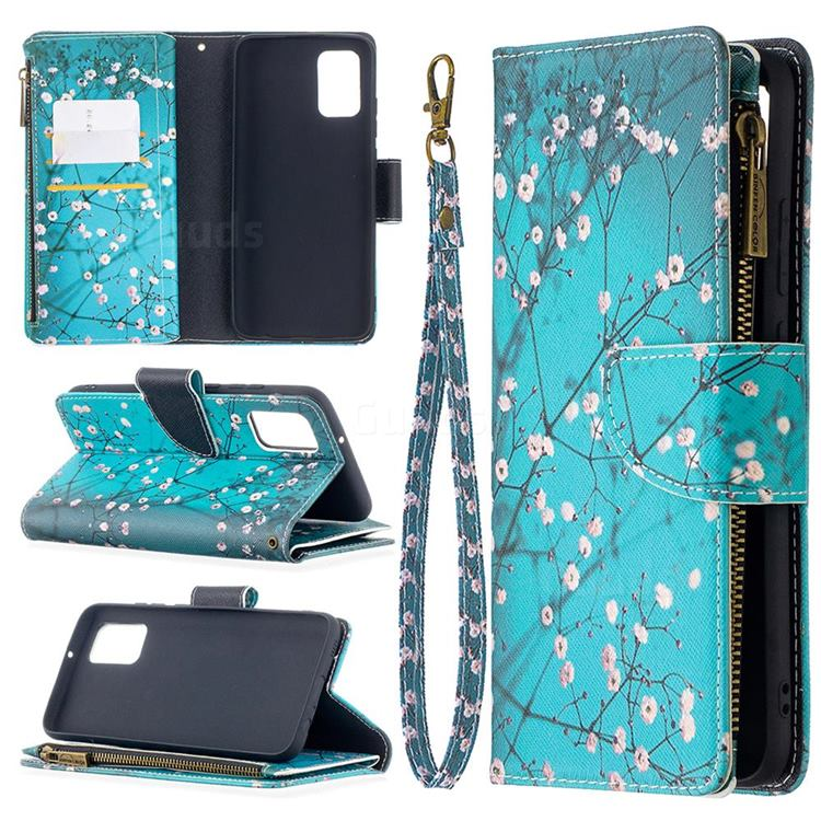 Blue Plum Binfen Color BF03 Retro Zipper Leather Wallet Phone Case for Samsung Galaxy A02s