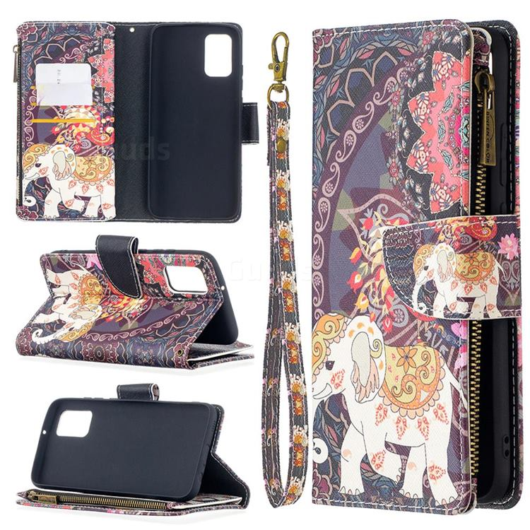 Totem Flower Elephant Binfen Color BF03 Retro Zipper Leather Wallet Phone Case for Samsung Galaxy A02s
