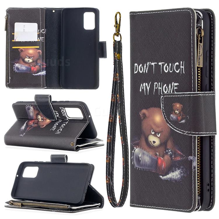 Chainsaw Bear Binfen Color BF03 Retro Zipper Leather Wallet Phone Case for Samsung Galaxy A02s