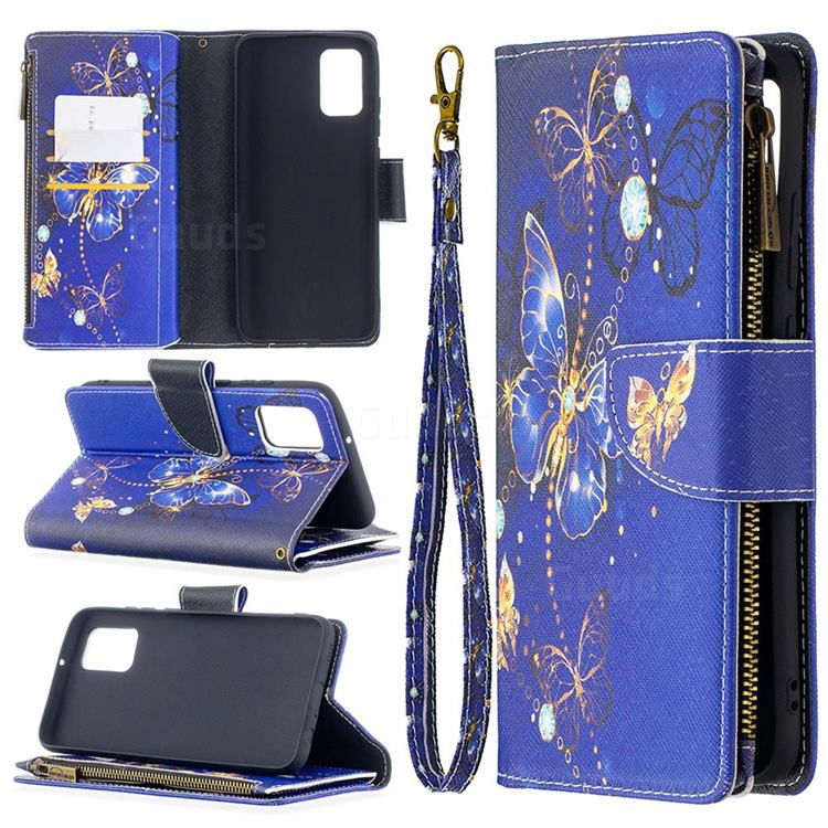 Purple Butterfly Binfen Color BF03 Retro Zipper Leather Wallet Phone Case for Samsung Galaxy A02s