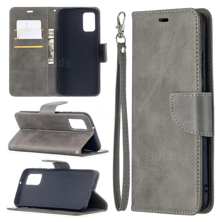 Classic Sheepskin PU Leather Phone Wallet Case for Samsung Galaxy A02s - Gray