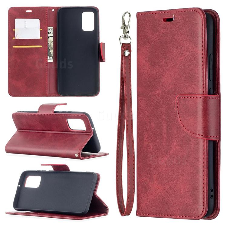 Classic Sheepskin PU Leather Phone Wallet Case for Samsung Galaxy A02s - Red