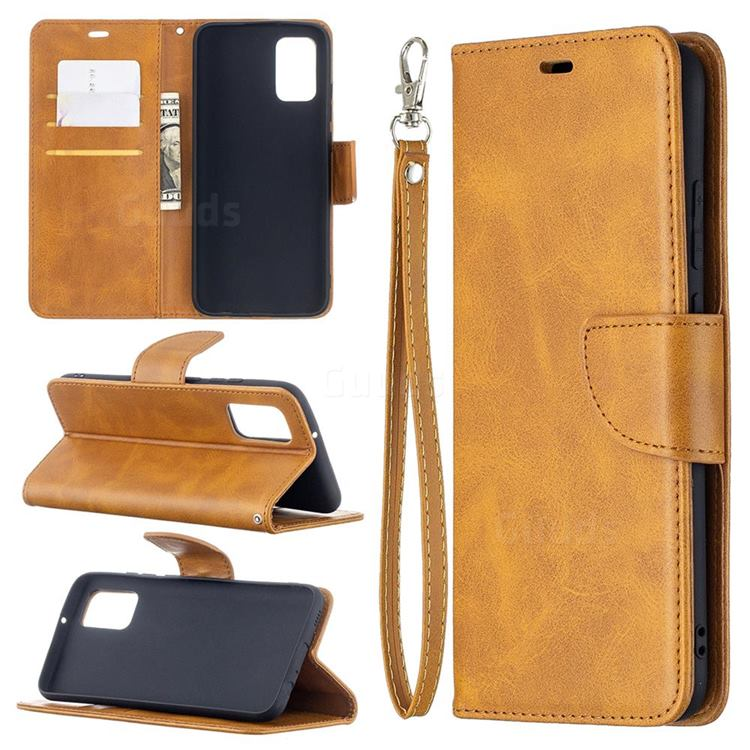 Classic Sheepskin PU Leather Phone Wallet Case for Samsung Galaxy A02s - Yellow