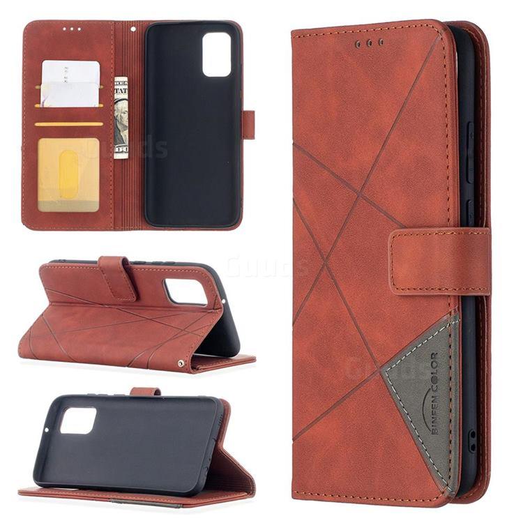 Binfen Color BF05 Prismatic Slim Wallet Flip Cover for Samsung Galaxy A02s - Brown