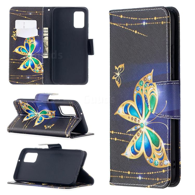 Golden Shining Butterfly Leather Wallet Case for Samsung Galaxy A02s